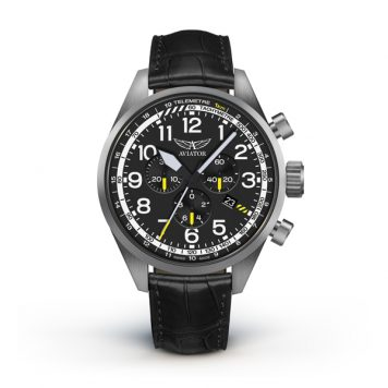Aviator Airacobra Gent's Swiss Chronograph Watch with Genuine Leather Strap