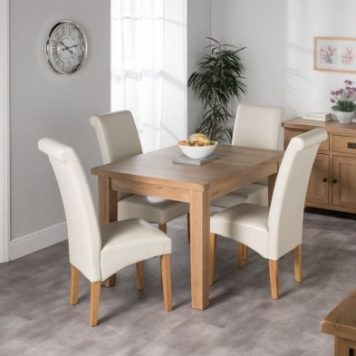 Cotswold Oak Dining Table Set With 4 Cream London Wave Back Chairs