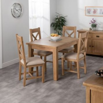 Cotswold Oak Dining Table Set With 4 Cross Back Chairs