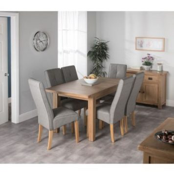 Cotswold Oak Dining Table Set With 6 Grey Milan Chairs