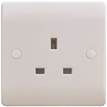 ESR Sline 13A White 1G Single 230V UK 3 Pin Unswitched Electric Wall Socket
