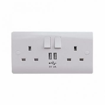 ESR Sline 13A White 2G 230V UK 3 Switched Electric Wall Socket & 2 USB Charger Port