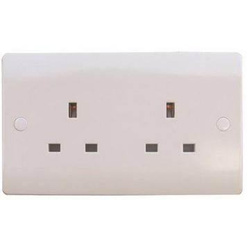 ESR Sline 13A White 2G Twin 230V UK 3 Pin Unswitched Electric Wall Socket