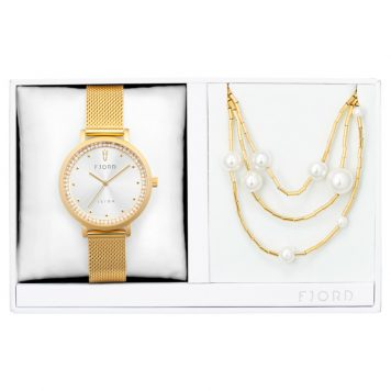 Fjord Ladies' Birger Watch with Milanese Strap and Necklace Gift Set