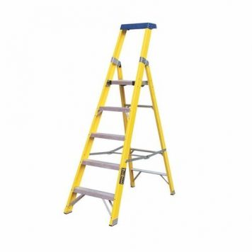 Greenbrook Fiberglass Aluminium Electricians Extension Step Ladder With Platform - 10 Step