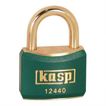 Kasp 40mm Brass Padlock with Green Plastic Coating