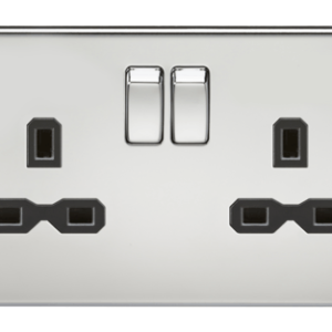 KnightsBridge 13A 2G DP Screwless Polished Chrome 230V UK 3 Pin Switched Electric Wall Socket - White Insert