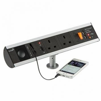 KnightsBridge 13A 2G Table Top Power Station Socket with Twin USB Charger & Aux Speaker
