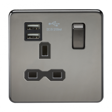 KnightsBridge 1G 13A Screwless Black Nickel 1G Switched Socket with Dual 5V USB Charger Ports - Black Insert