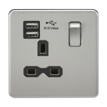 KnightsBridge 1G 13A Screwless Brushed Chrome 1G Switched Socket with Dual 5V USB Charger Ports - Black Insert