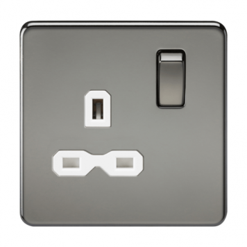 KnightsBridge 1G DP 13A 230V Screwless Black Nickel UK 3 Pin Switched Electrical Wall Socket - White Insert