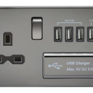 KnightsBridge 2G 13A Screwless Black Nickel 1G Switched Socket with Quad 5V USB Charger Ports - Black Insert