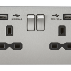 KnightsBridge 2G 13A Screwless Brushed Chrome 2G Switched Socket with Dual 5V USB Charger Ports - White Insert