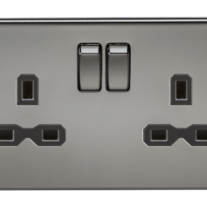 KnightsBridge 2G DP 13A Screwless Black Nickel 230V UK 3 Pin Switched Electric Wall Socket - Black Insert