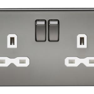 KnightsBridge 2G DP 13A Screwless Black Nickel 230V UK 3 Pin Switched Electric Wall Socket - White Insert