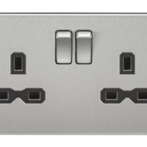 KnightsBridge 2G DP 13A Screwless Brushed Chrome 230V UK 3 Pin Switched Electric Wall Socket - Black Insert