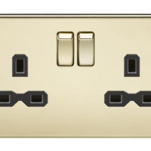KnightsBridge 2G DP 13A Screwless Polished Brass 230V UK 3 Pin Switched Electric Wall Socket - Black Insert