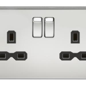 KnightsBridge 2G DP 13A Screwless Polished Chrome 230V UK 3 Pin Switched Electric Wall Socket - Black Insert