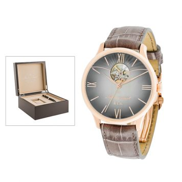 Mathey-Tissot Gent's Limited-Edition IP MS11 Edmond Watch with Genuine Leather Strap, Luxury Box and Caran Dache Pen