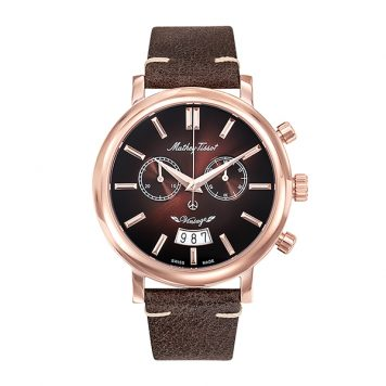 Mathey-Tissot Gent's Vintage Chronograph Watch with Genuine Leather Strap
