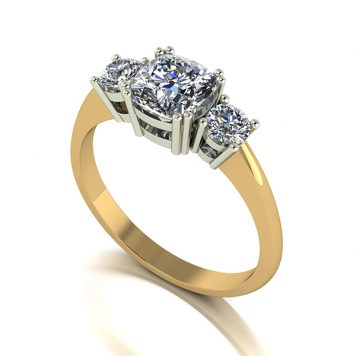 Moissanite 9ct Gold 1.4ct eq Royal Trilogy Ring