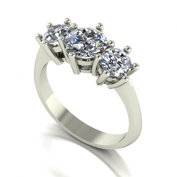 Moissanite 9ct Gold 2.00ct eq Trilogy Ring