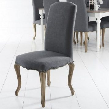 Pair of Lancelot Studded Back Dining Chair Grey