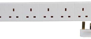 Pro-Elec 6G 1m White Extension Lead