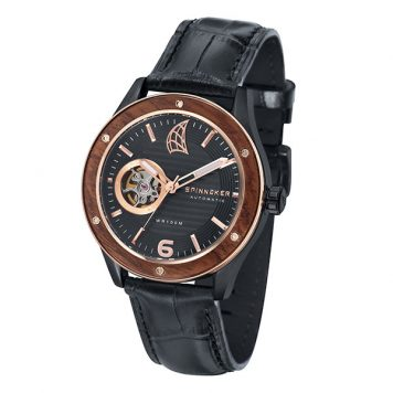 Spinnaker Gent's Sorrento Watch with Open Heart Detail with Black Dial and Genuine Leather Strap