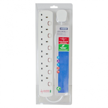 Status 2M 6G Surge Protection Extension Lead with Neon Indicator
