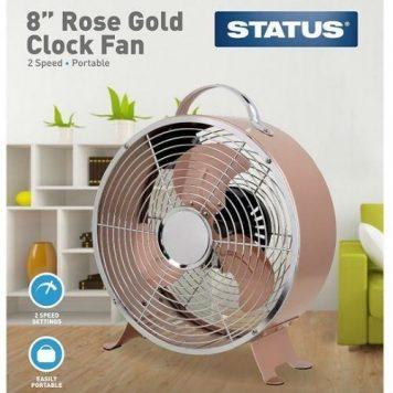 Status Portable Rose Gold 8-Inch Clock Fan