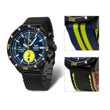 Vostok Europe Gent's Jurgis Kairy L2 Limited Edition Pilot Watch with Black PVD Milanese Bracelet and interchangeable Strap