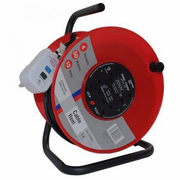 Zexum 50m 4G Socket Extension Reel on Metal Frame With RCD Plug