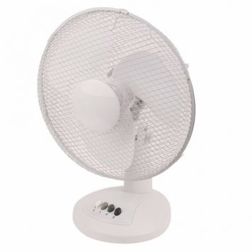 Zexum White 12 Inch Portable Oscillating Cooling Table Desk Fan