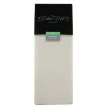 Cotton Mill Cream King Poly Cotton Flat Sheet