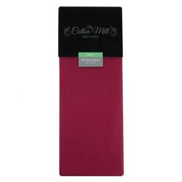 Cotton Mill Raspberry King Poly Cotton Fitted Sheet