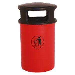 120 Litre Hooded Plastic Litter Bin - Red
