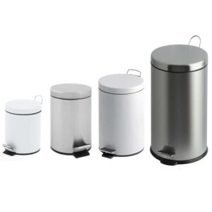 30 Litre White Metal Pedal Bin with Plastic Liner