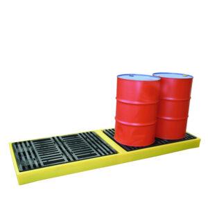 4 drum inline workfloor spill containment pallet