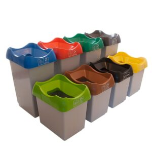 50 Litre Dark Grey Waste Recycling Bin with Lid and Graphic of Choice
