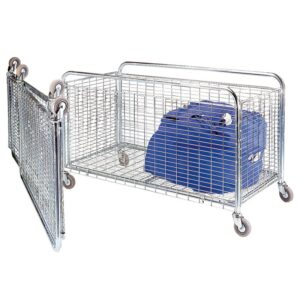 Bright Zinc Folding Container / Cage Trolley 1200 long 150kg cap