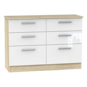 Buxton 6 Drawer Midi Bedroom Chest White Gloss & Brown