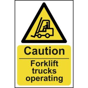 Caution Fork lift trucks operating - Sign - PVC (200 x 300mm)