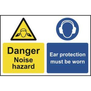 Caution Noise hazard Ear protection Sign - PVC 200 x 300mm