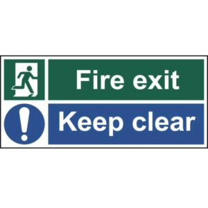 Fire exit Keep clear - Self Adhesive Sticky Sign (450 x 200mm)