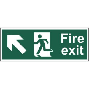 Fire exit (Man arrow up/left) - Self Adhesive Sign 400 x 150mm