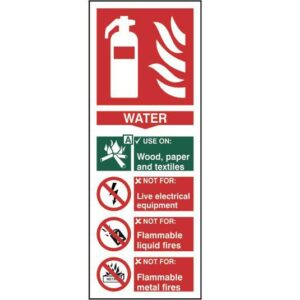 Fire extinguisher: Water - Self Adhesive Sticky Sign (82 x 202mm)