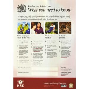 Health and Safety Law Poster - Sign Laminate A3 Size