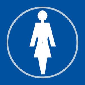 Ladies Toilet Blue Braille Sign