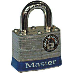 Master Lock Laminated Steel Padlock with hardened 7mm Dia Shackle